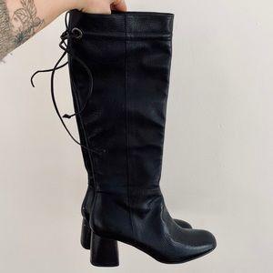 Napoleoni Black Pebbled Leather Tall Boots w/ Heel